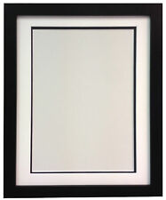 H7 Black Picture Photo Frame MDF in Black White and Ivory Double Bevel Mounts