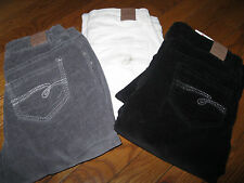 NWT Justice Girls Corduroy Jean Pants brushed cotton Gray or Ivory 12 R
