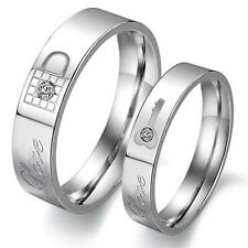 Lovers Key Lock Silver Crystal Couple Rings Her and His Promise Ring Band Hot