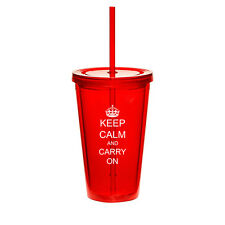 16oz Double Wall Acrylic Tumbler Mug Cup w/ Straw Keep Calm Carry on Crown