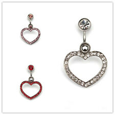 New 1pc 14G Rhinestone Heart Shape Navel Belly Button Ring Belly Body Jewelry
