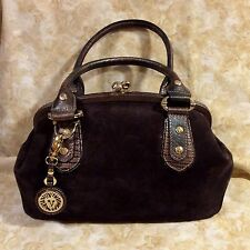 Anne Klein Brown Suede,Handbag w/ Embossed Lizard Print Leather Trim Pre-Owned