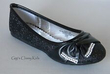 New Girls Youth Toddler Black Glitter Dress Shoes Flats Rhinestone Kids Pageant