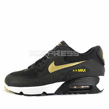 Nike Air Max 90 Print Mesh GS [833486-004] NSW Running Black/Gold-Deep Pewter