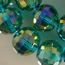 10x12mm Faceted Emerald Rainbow AB Czech Glass Crystal Spacer Loose Beads 35pcs