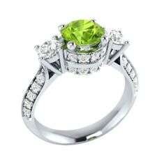 1.45 ct Green Peridot & White Sapphire Solid Gold Wedding Engagement Ring