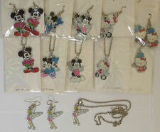 disney hello kitty tinkerbell minnie mickey necklace earrings sets metal enamel