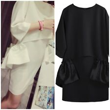 Asymmetric Ruffle Strong Shapes Winged Black or White Top with One Piece Dress