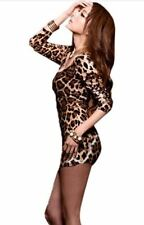 NEW LADIES ANIMAL LEOPARD PRINT MICRO MINI DRESS TIGHT STRETCH MINIDRESS 8/10/12