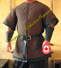 Medieval Armor Norman Knight Gambeson Deluxe with Leather Trims