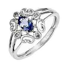 925 Rhodium Flashed Silver Heart Flower Pedals Tanzanite & Diamond Ring -.31cttw