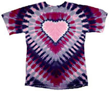 Hand-dyed Tie Dye T-shirt PURPLE and PINK HEART Size S L XL