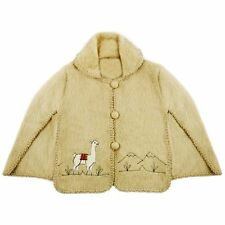 Kids Alpaca Poncho with Hand Stitched Design - very soft wool.