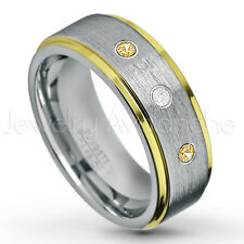 0.21ctw Diamond & Citrine 3-Stone Tungsten Ring, November Birthstone Ring #132