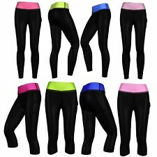COMPRESSION PANTS Womens Full Length 3/4 Running Skins Gym Black Leggings XS-3XL
