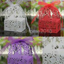 50x Sweet Wedding Party Favor Love Heart Paper Candy Ribbon Gift Boxes 3 Colors