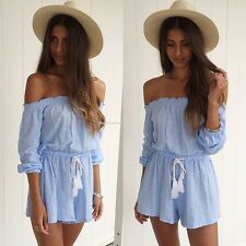 Sexy Women's Summer Off Shoulder Jumpsuit Short Jumper Romper Playsuit Trousers