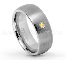 November Birthstone 0.07ct Citrine Ring, Brushed Dome Tungsten Carbide Ring #069