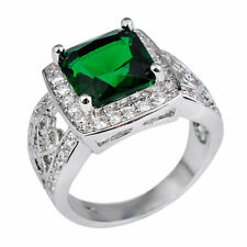 Green Emerald Crystal Band Women's 10Kt White Gold Filled Wedding Ring Size 6-10