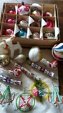 Collection Vintage Glass Bauble Christmas Tree Decorations Concave beaded Mixed