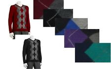Apt 9 Mens Argyle Sweater Merino Wool  v-neck long sleeves size S L XL NEW