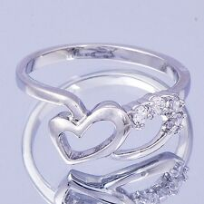 Womens Cubic Zirconia Heart Ring White Gold Filled Size 5 6.25 7.25 9