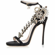 $2100 DSQUARED2 6/36 8/38 Crystal Jeweled Black RUNWAY Satin Ankle Strap Sandals