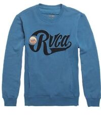 RVCA BOMBERS CREW NECK FLEECE PULLOVER SWEATSHIRT BLUE MENS GUYS NEW $64