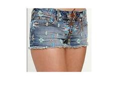 KENDALL & KYLIE TRIBAL DENIM JEAN EMBROIDERED LACE UP SHORTS WOMEN'S/JRS