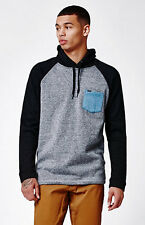 MEN'S GUYS HURLEY SHORT FUSE PULLOVER FLEECE HOODIE BLACK/ GRAY NEW $59