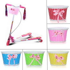 Bike Flowery Front Basket Bicycle Cycle Shopping Stabilizers Children Girls 3C