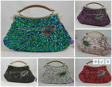 Green Blue Beaded Sequined Peacock Feather Evening Party Clutch Handbag Purse