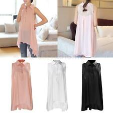Women Collared Sleeveless Button Down Shirts Sexy Lace Summer Stylish Blouse