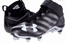 Under Armour Men's Blk/Silver C1N Mid D Football Cleats Size 10 or 10.5 - NEW
