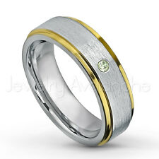 0.07ct Peridot Ring, 2-tone Comfort Fit Tungsten Ring, August Birthstone #330