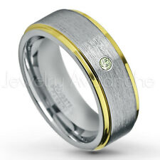 0.07ct Peridot Ring, 2-tone Comfort Fit Tungsten Ring, August Birthstone #132