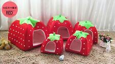 Dog Cat Puppy Doggy Soft Kennel Pet House Pad Strawberry Bed Cushion Warm