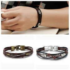 New Vintage Men's Braided Leather Stainless Steel Cuff Bangle Bracelet Wristband