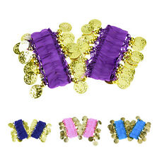 1 Pair Belly Dance Wear Bracelets Beads Gold Coins - purple CP