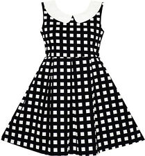 Girls Dress Turn-Down Collar Checkered Black White Party Age 7-14 Years