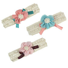 Baby Toddler Girl Lace Flower Bow Hair Clip Pin Band Headband (Blue)) CP