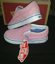 BNWT IN BOX GIRLS PINK CHECKED SLIP ON VANS TRAINERS, SIZE UK 9.5 INFANT EU 26.5