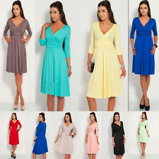 NEW Women Sexy V-Neck Stretch OL Long Sleeve Pleated Dress Maternity Maxi Dress