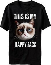 This Is My Happy Face Grumpy Cat T-Shirt Official New