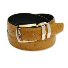 OSTRICH Pattern MUSTARD Color Bonded Leather Men's Belt Gold-Tone Buckle Regular