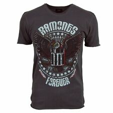 Amplified Mens Ramones Forever Rock T Shirt Charcoal NEW