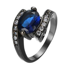 Oval Blue Crystal Women's 10KT Black Gold Filled Wedding Sapphire Ring Size 6-10