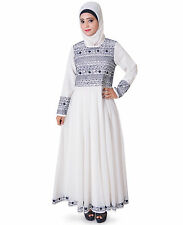 Islamic Wedding Dress Off White Embroidered Anarkali Abaya ZA-128