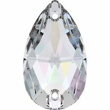 SWAROVSKI CRYSTAL SEW-ON PEAR DROP FLAT BACK STONES *3230 *12-28mm *ALL COLOURS