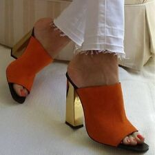NEW ZARA ORANGE GOLD EFFECT MULES LEATHER HIGH HEEL SANDALS SHOES Ref. 1533/101